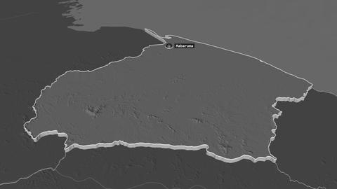 Barima-Waini extruded. Guyana. Stereographic bilevel map Animation