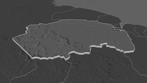 Cuyuni-Mazaruni extruded. Guyana. Stereographic bilevel map Animation