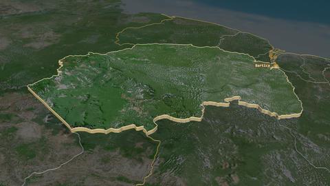 Cuyuni-Mazaruni extruded. Guyana. Stereographic satellite map Animation