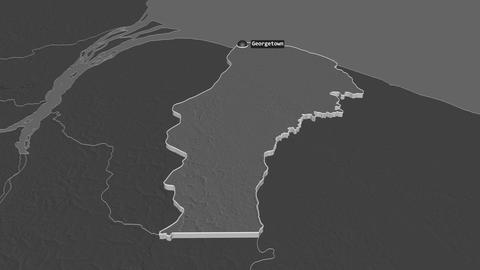 Demerara-Mahaica extruded. Guyana. Stereographic bilevel map Animation