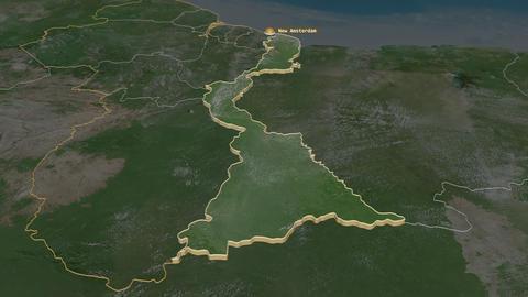 East Berbice-Corentyne extruded. Guyana. Stereographic satellite map Animation