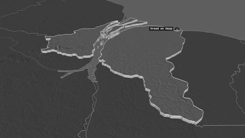 Essequibo Islands-West Demerara extruded. Guyana. Stereographic bilevel map Animation