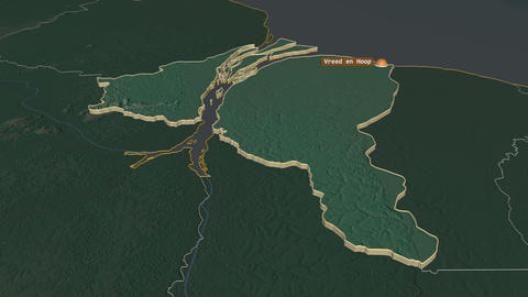 Essequibo Islands-West Demerara extruded. Guyana. Stereographic relief map Animation