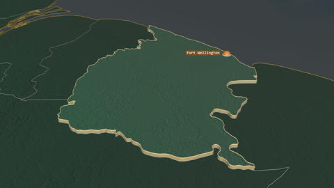 Mahaica-Berbice extruded. Guyana. Stereographic relief map Animation