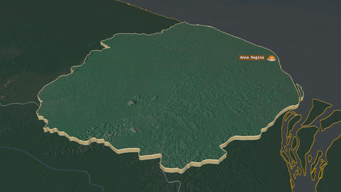 Pomeroon-Supenaam extruded. Guyana. Stereographic relief map Animation