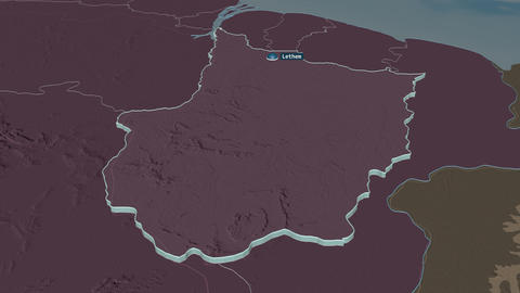 Upper Demerara-Berbice extruded. Guyana. Stereographic administrative map Animation
