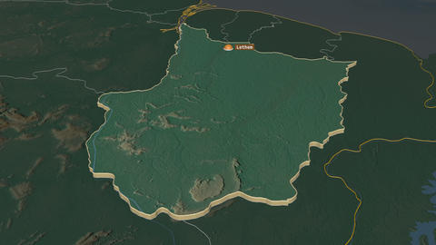 Upper Demerara-Berbice extruded. Guyana. Stereographic relief map Animation