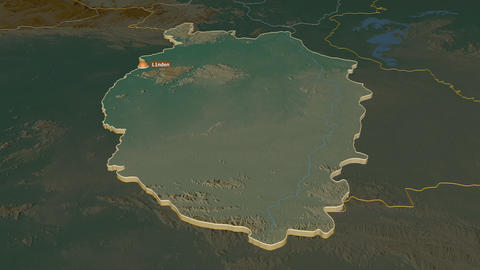 Upper Takutu-Upper Essequibo extruded. Guyana. Stereographic relief map Animation