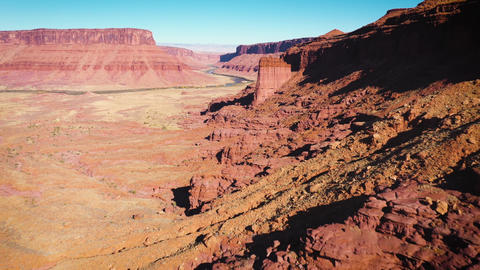 Aerial shot of the rugged landscape near Moad Utah Live Action