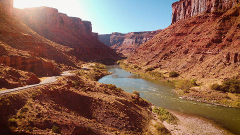 Aerial shot of the Colorado River as is passes thought Utah Live Action