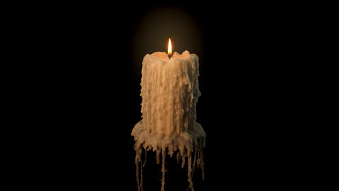 An old and melted candle rotates in front of a black background Live Action