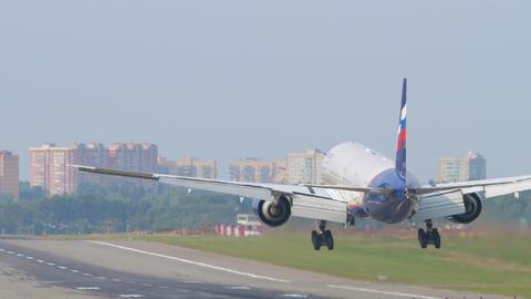 Boeing 777 airliner landing Live Action