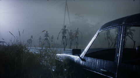 Spooky scary skeletons are walking along a misty abandoned apocalyptic road. Animation for Animation