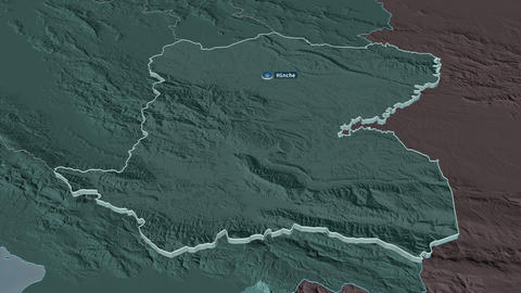 Centre extruded. Haiti. Stereographic administrative map Animation