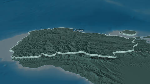 Grand'Anse extruded. Haiti. Stereographic administrative map Animation