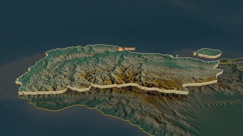 Grand'Anse extruded. Haiti. Stereographic relief map Animation