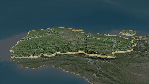 Grand'Anse extruded. Haiti. Stereographic satellite map Animation