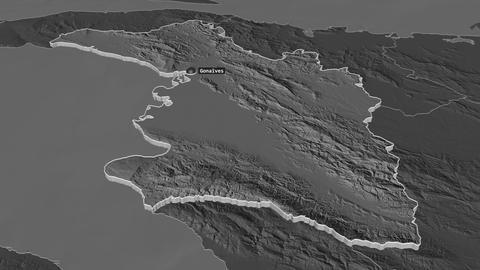L'Artibonite extruded. Haiti. Stereographic bilevel map Animation