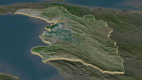 L'Artibonite extruded. Haiti. Stereographic satellite map Animation