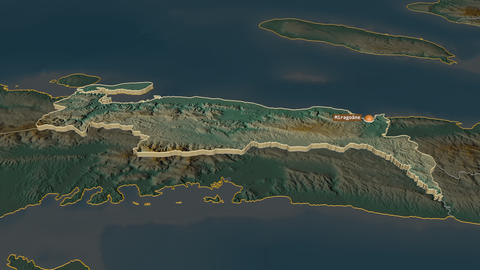 Nippes extruded. Haiti. Stereographic relief map Animation