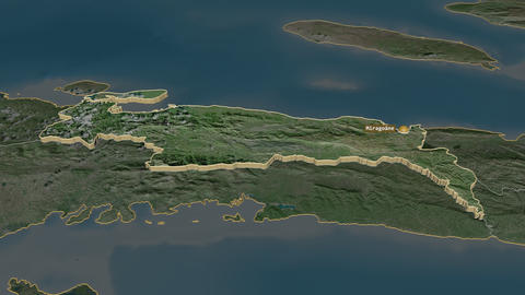 Nippes extruded. Haiti. Stereographic satellite map Animation