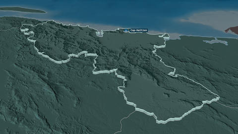 Nord extruded. Haiti. Stereographic administrative map Animation