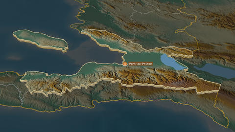 Ouest extruded. Haiti. Stereographic relief map Animation