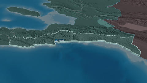 Sud-Est extruded. Haiti. Stereographic administrative map Animation