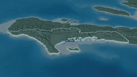 Sud extruded. Haiti. Stereographic administrative map Animation