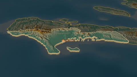 Sud extruded. Haiti. Stereographic relief map Animation