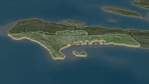 Sud extruded. Haiti. Stereographic satellite map Animation