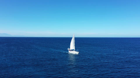 Aerial view of a sailing yaht, Zakynthos, Greece Live Action