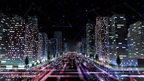Digital City Network Building Technology Communication Data Business Background Night Aa1 Animation