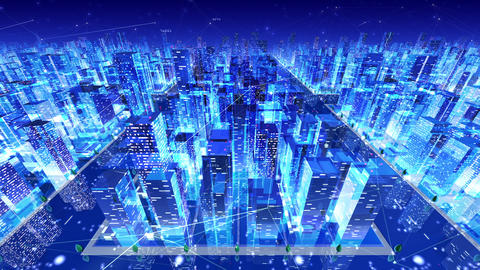 Digital City Network Building Technology Communication Data Business Background Night Da3 loop Animation