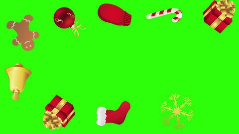 Decorative Christmas elements animation group on green screen chroma key Animation