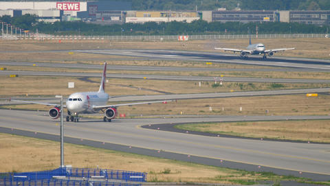 Airliner taxiing after landing Live Action