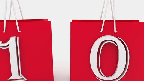Shopping bags with inscription sale and 10 percents Animation