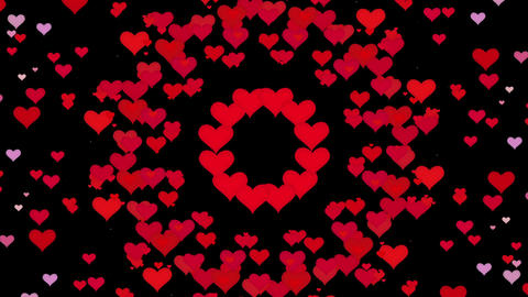 Flying hearts in various colors on black Animation
