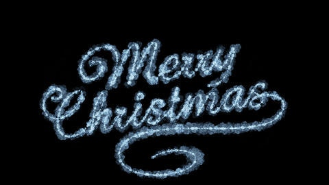 Beautiful Animation of Freezing Text Appearing. Merry Christmas Theme. HD 1080 Animation
