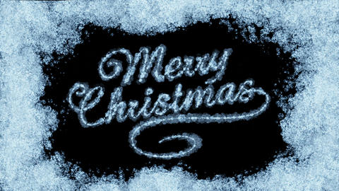 Beautiful Animation of Freezing Window and Text Appearing. Merry Christmas Theme Animation