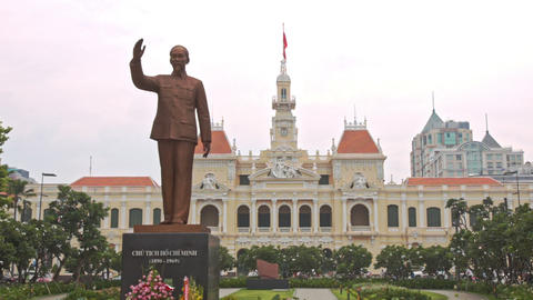 Monument to Ho-Chi-Minh on Central Square in Saigon in Vietnam Footage
