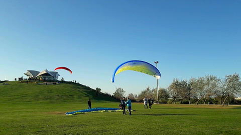 Samsun, Turkey - November 19, 2016: Paragliding course lessons for new beginners Footage