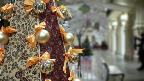 New Year's and Christmas red carpet tree decoration in shopping mall Footage
