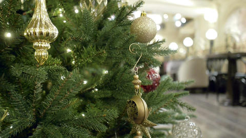 New Year's and Christmas tree decoration in restaurant or bar Footage