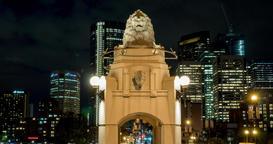 Timelapse of Lion Statue on Centre Street Bridge in Calgary, Alberta Footage