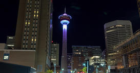 Hyperlapse of Calgary Tower at night. Calgary Alberta Footage