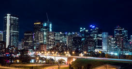 Hyper lapse of downtown Calgary and Centre Street Bridge at night Footage