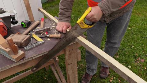 Carpenter sawing timber Live Action