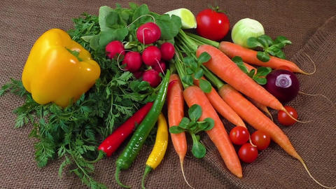 Still life with various fresh organic vegetables Footage