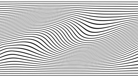 2d animation of rows and rows of colorful black and white stripes rippling Live Action